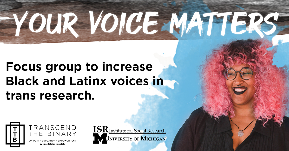 Your Voice Matters | focus group to increase Black, Latinx/Chicanx voices in trans-led research.
